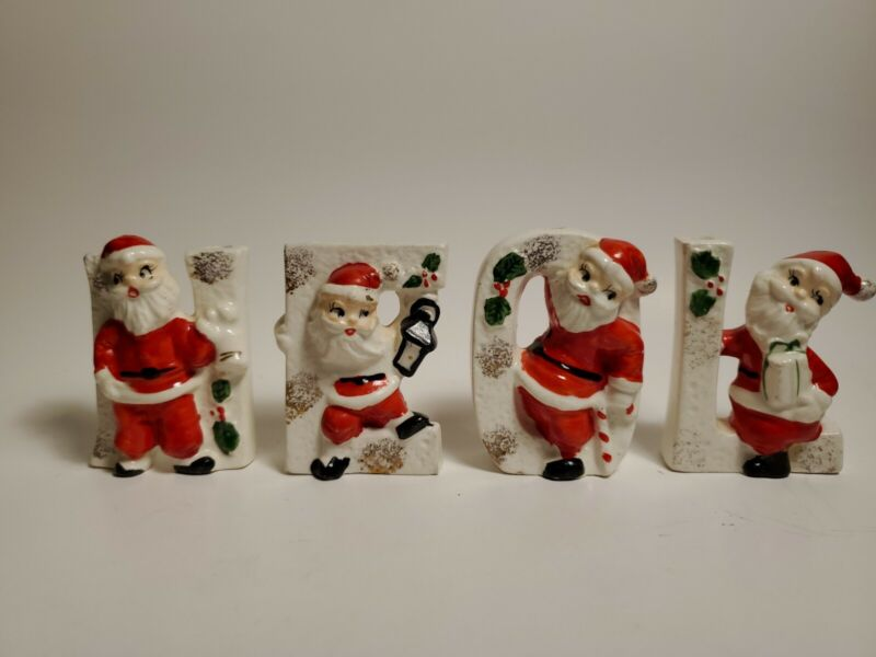 Vintage Commodore Christmas Santa NOEL mini Candleholders Japan
