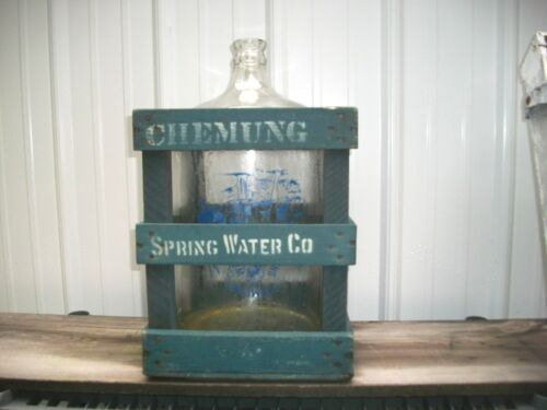 ANTIQUE CHEMUNG SPRING WATER BOTTLE AND MATCHING WOOD CRATE, MAY BE PICKED UP
