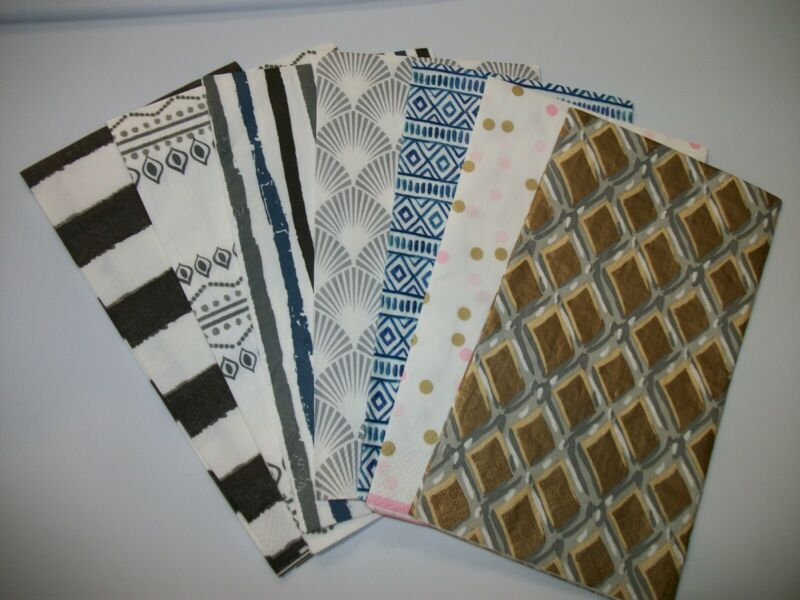 paper napkins for decoupage. SEVEN single guest size napkins, great for crafting