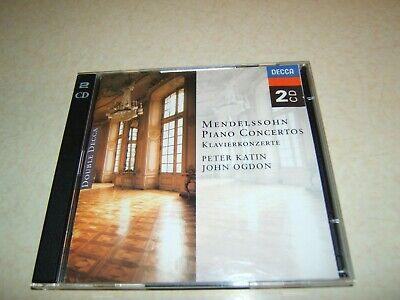 MENDELSSOHN PIANO CONCERTOS  KATIN / OGDON  2 DISC CD ALBUM DECCA