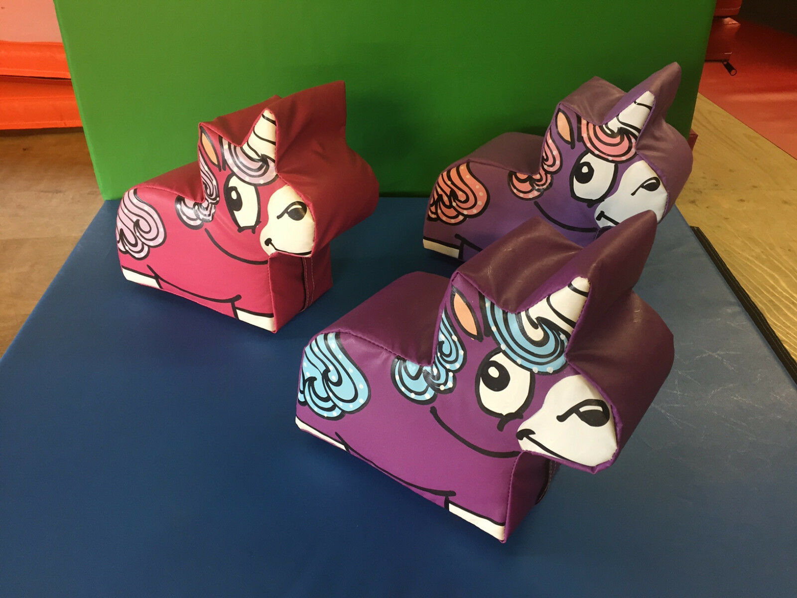 3 x Small Unicorn approx 14 x 10 x 8 inch Hand Painted