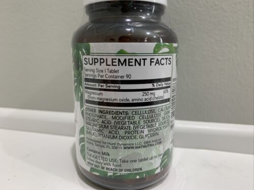 Natural Nutra Chelated Magnesium 250mg, 90 Tablets, Best By 08/23 - $19.99