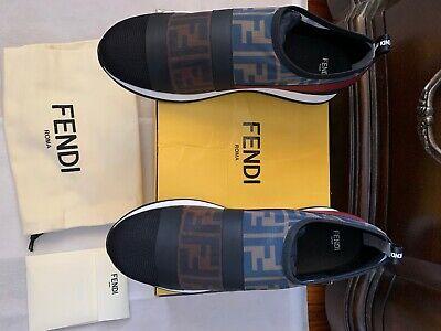 New Fendi Runway Mesh FF Trainer Sneakers, Black, 40/10