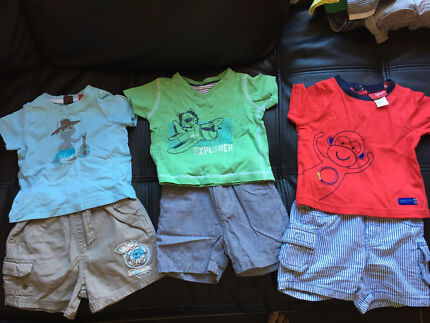 3 x boys summer outfits shorts and tops size 00/3-6months  Greenwith Tea Tree Gully Area Preview
