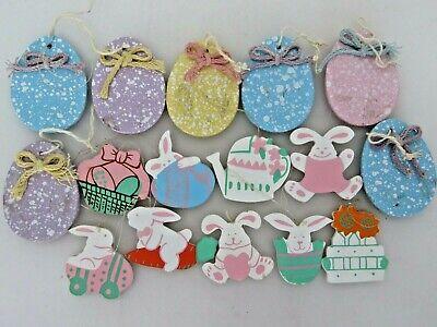 16 Wooden Easter Tree Ornaments Bunnies Eggs Baskets Lot A1988 - Wooden Easter Baskets