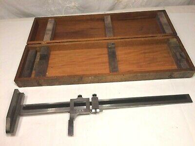 Vtg Antique Wood Box Brown Sharpe 585 Vernier Height Gage 19 Inch Made In Usa