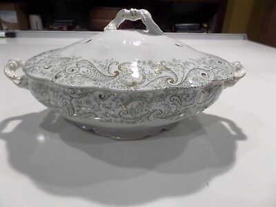 J & G Meakin Covered Vegetable Dish Hanley England Semi Porcelain China