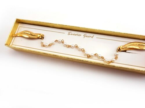 Vintage Jewelry Sweater Guard Clip Gold Tone Leaves with Faux Pearl Chain in Box