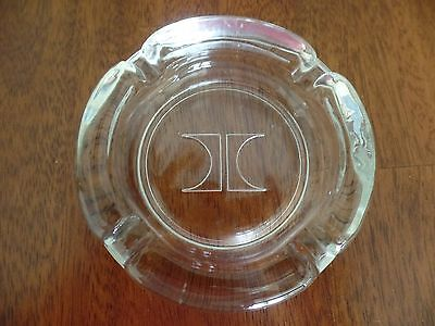 Vintage Hilton Hotels Clear Thick Glass Ashtray With Embossed Logo Evc