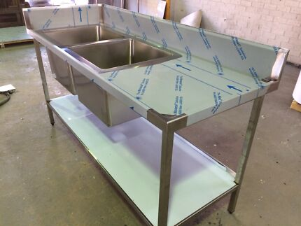 Wet bench with double sinks/stainless steel bench 1,800mm x700mm