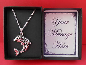 SILVER DOLPHIN PENDANT & NECKLACE-GIFT BOXED PERSONALISED MESSAGE