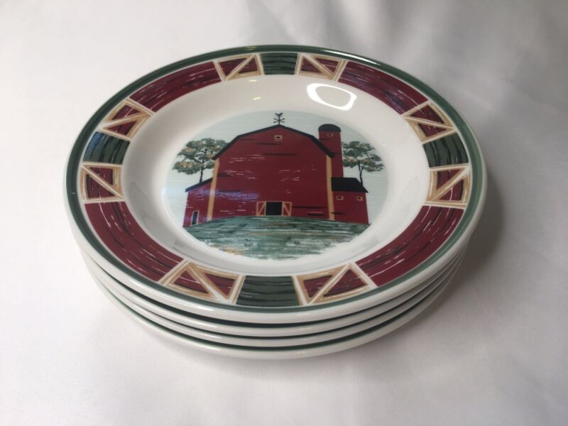 Set of 4 Tienshan Stoneware PRAIRIE Red Barn Country Farm - Salad Plates