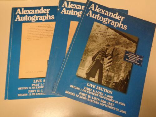 Alexander Autographs Auction Catalogs (3) Ephemera Letters Signed 2004-2007