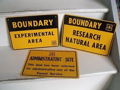 Job Lot 3 X Vintage Original American U S Forest Service Tin Warning Signs