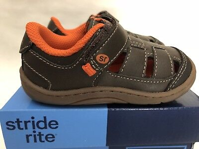 Stride Rite Foster Brown/Orange Baby Toddley Boy shoes Sandals US Size 4M, 5M