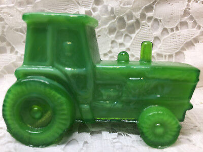 Green Jadeite milk glass farm tractor candy container john deere Slag marble art