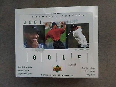 2001 Upper Deck golf hobby box, rookie card Tiger Woods, S Garcia, poss auto