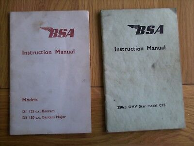 BSA Instruction Manuals, BANTAM and C15 STAR.NORTON,TRIUMPH.ARIEL,VELOCETTE,AJS.