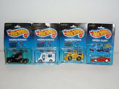(Lot of 4) 1989 Vintage HOT WHEELS NOS Workhorses Speed Fleet Blue Card Big Rig