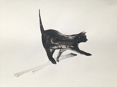Original signed Ink sketch painting of a Black Cat A4 approx.