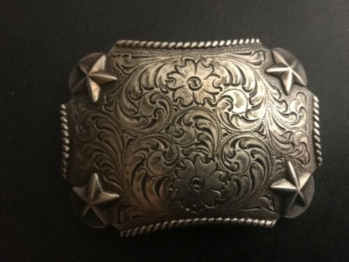 Floral engraved,Western,cowboy,rodeo,stars belt buckle.Antique nickel plaiting .