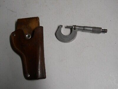 Starrett 230-1 0-1 Micrometer  .0001  Wstarrett Holster  Used