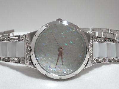 Victoria Wieck Pavé Crystal Ceramic Bracelet Watch  Silvertone