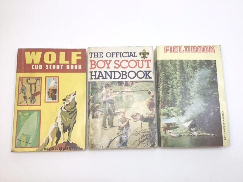 Boy Scout Book Lot - The Official Boy Scout Handbook 1979 Fieldbook 1977 & Wolf