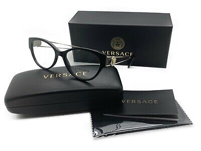 new authentic VERSACE Womens Eyeglasses VE3254 GB1 Black & metal  54mm MOD MIB
