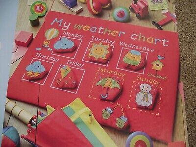 BRIGHTLY COLOURED INTERACTIVE WEATHER CHART FOR CHILDREN CROSS STITCH CHART - Weather Chart For Kids