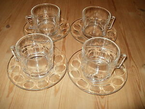 Arcoroc FRANCE Thumbprint Clear Glass Cups and Saucers SET OF FOUR (PM118)