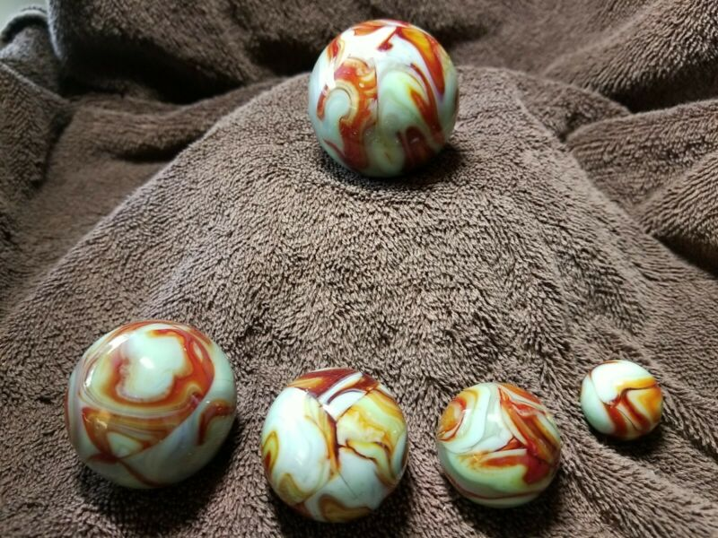 5-pc. Marble Set, signed by Eddy Seese 00, gr/red