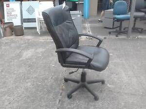 BLACK LEATHERETTE HIGH BACK TILT CHAIR*GAMER*COMPUTER*OFFICE Cartwright Liverpool Area Preview