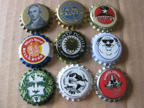 9 DIF MOSTLY MICRO CRAFT BEER CAPS WITH FACED THEMED CROWNS