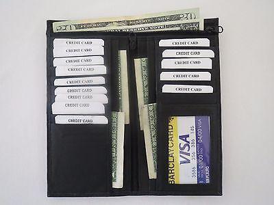Long Wallet ID Credit Card Money Holder Organizer Bifold Black Genuine Leather  Money Long Wallet