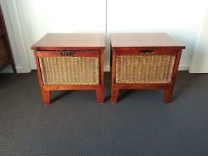 Pair of timber and cane bedside tables in excellent condition