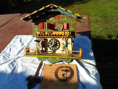 Vintage E Schmeckenbecher Cuckoo Clock with music movement for Parts or Repair