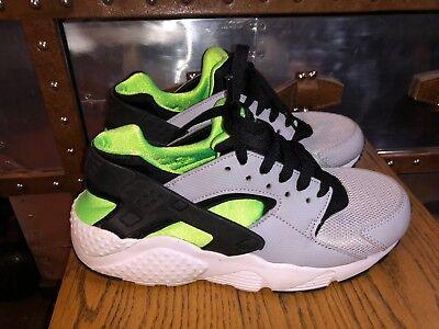 timeless design 8dc5e dd016 Nike Huarache Run GS Wolf Grey-Black-Electric Green-White Youth 6 EUR 38.5
