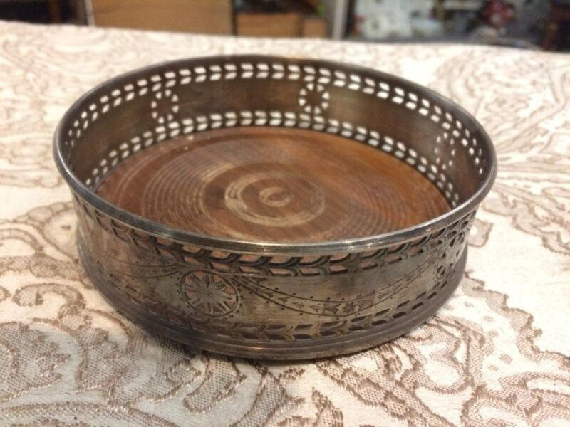 Antique Vintage Silver Plate Wood Wine Coaster Holder Size 5""