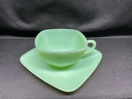 Vintage Fire-King Jadeite Jadite Charm Tea Coffee Cup and Saucer Anchor Hocking