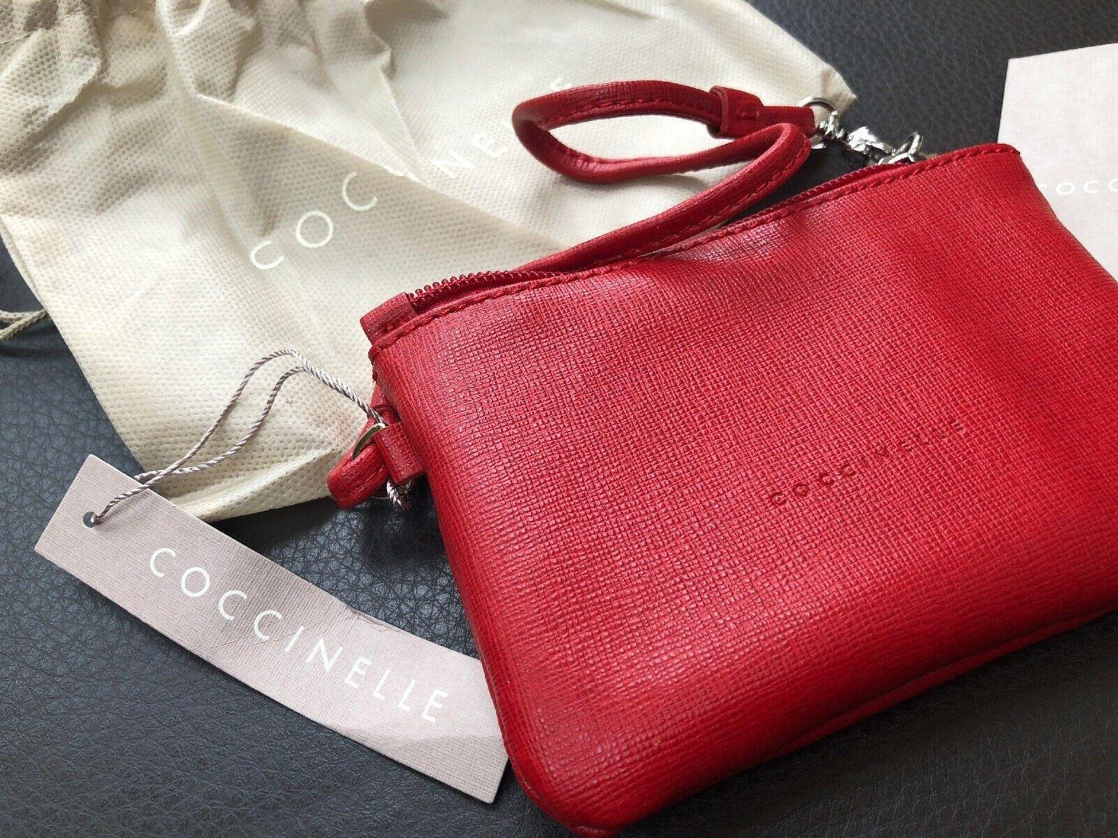 COCCINELLE Neue Clutch 100% Leder Rot Kosmetiktasche Geldbörse Damentasche
