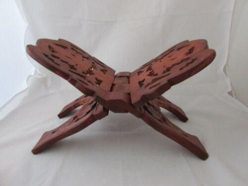 VINTAGE OPEN BOOK DISPLAY STAND ORNATE HAND CARVED SHEESHAM WOOD FOLDING  BIBLE