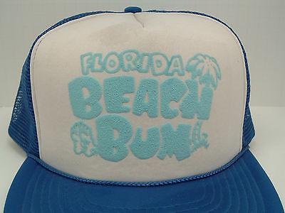 vintage mesh  blue snapback trucker hat Florida beach bum graphics front unisex