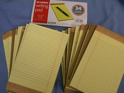 24 Pk Jr Size 5 X 8 Yellow Legal Note Pads Lined 1200 Sheets Tops 1469 Usa Pad