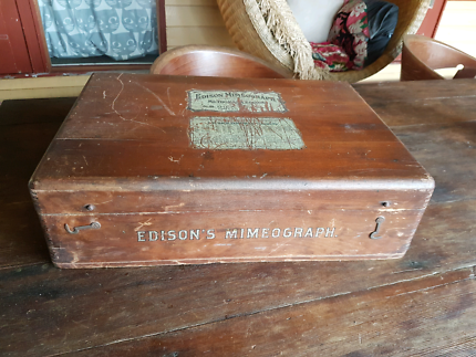 Antique vintage wooden printers box from Chicago