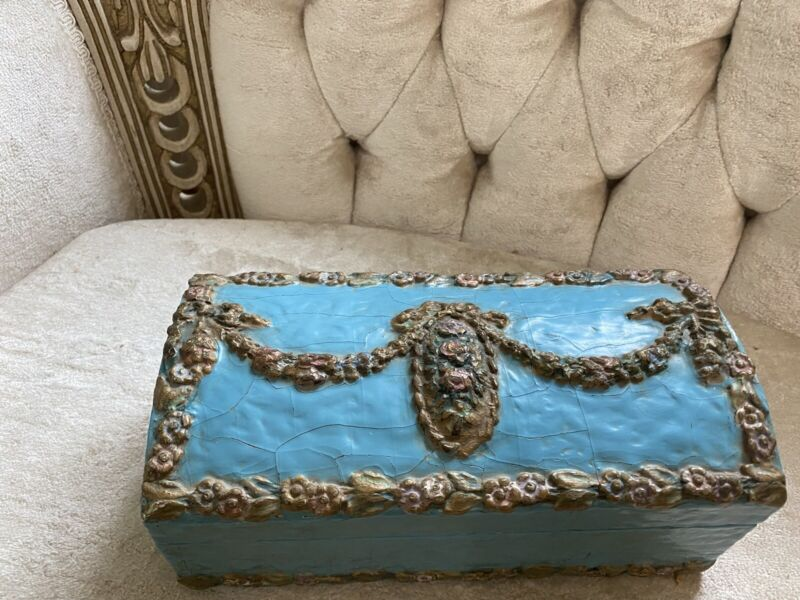 Rare Antique 1920'BLUE Barbola Jewelry Casket Swag~Garland Roses Bow Wood Gesso