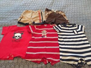 Size 6 Month Boys Summer Rompers, shorts and swim trunks