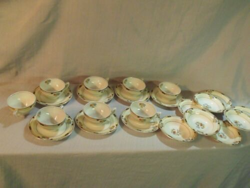 (7) GRINDLEY IVORY TEACUP SETS WITH (8) MATCHING BERRY BOWLS, (1) EXTRA CUP