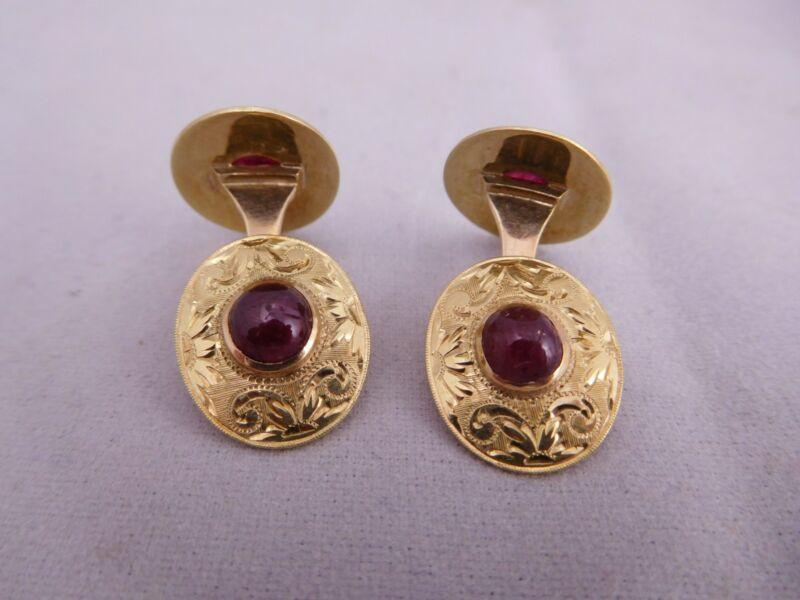 1860 VICTORIAN 14K SOLID YELLOW GOLD CABOCHON CUT NATURAL RUBY STONE CUFF LINKS