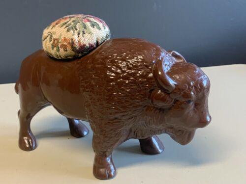 """Vtg Buffalo Bison Ceramic Pin Cushion Large 8""""X 5"""""""